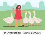 little girl feeding fowl on...   Shutterstock .eps vector #2041129307