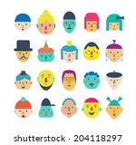 20 different funny faces.... | Shutterstock .eps vector #204118297