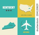flat design with map Kentucky concept for air travel