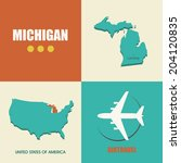 flat design with map Michigan concept for air travel