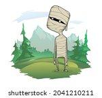 cartoon funny mummy standing in ... | Shutterstock .eps vector #2041210211