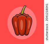 red paprika cartoon vector ...   Shutterstock .eps vector #2041218041