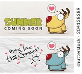 summer vector card with funny... | Shutterstock .eps vector #204128389