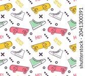 skateboarding seamless pattern... | Shutterstock .eps vector #2041300391