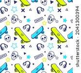 skateboarding seamless pattern... | Shutterstock .eps vector #2041300394
