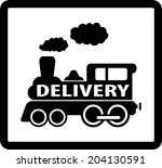 Black Train On White Background ...