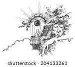 surreal drawing of a eye... | Shutterstock . vector #204133261