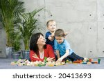 mother and two children and... | Shutterstock . vector #20413693
