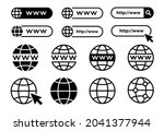 set of www  globe and search... | Shutterstock .eps vector #2041377944