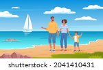 cute family vacation on the sea ... | Shutterstock .eps vector #2041410431