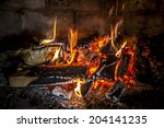 Постер, плакат: Fireplace with a blazing