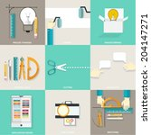 set of flat simple icons ... | Shutterstock .eps vector #204147271