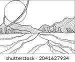doodle alien fantasy landscape... | Shutterstock .eps vector #2041627934