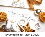christmas card and paper with...   Shutterstock . vector #20416423