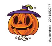 happy halloween with cartoon...   Shutterstock .eps vector #2041652747