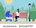 mom with a stroller in the park ... | Shutterstock .eps vector #2041669787