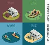 rafting canoeing recreation... | Shutterstock .eps vector #2041686581