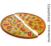3d pizza of two halves with...