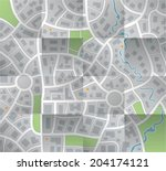 vector paper city map with folds | Shutterstock .eps vector #204174121