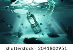 plastic waste floating in the...   Shutterstock . vector #2041802951