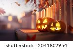 glowing candle lit jack o...   Shutterstock . vector #2041802954