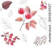 watercolor seamless pattern...   Shutterstock .eps vector #2041815437
