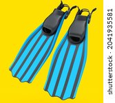 Blue Diving Flippers Isolated...