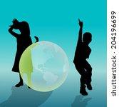 vector silhouette of a children ...   Shutterstock .eps vector #204196699
