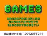 pixel vector alphabet design ... | Shutterstock .eps vector #2042095244