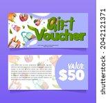 gift voucher  shopping...   Shutterstock .eps vector #2042121371