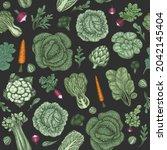 hand drawn vintage vegetables.... | Shutterstock .eps vector #2042145404