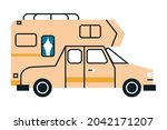 beige recreational vehicle... | Shutterstock .eps vector #2042171207