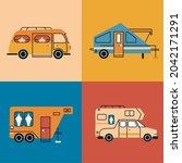 four recreational vehicles set... | Shutterstock .eps vector #2042171291
