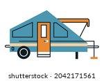blue recreational vehicle... | Shutterstock .eps vector #2042171561