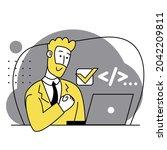 concept of script coding ...   Shutterstock .eps vector #2042209811