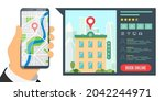 find hotel and booking online...   Shutterstock .eps vector #2042244971