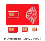 mobile phone red sim card with...   Shutterstock .eps vector #2042244974