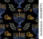 Hanukkah Blue And Gold Seamless ...