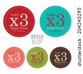 Vector : Colorful Circle Earn x3 Triple Point on All Purchases Icon, Label or Sticker Isolated on White Background