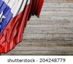 chile flag with horizontal wood | Shutterstock . vector #204248779