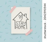 Stay Home Lettering Typography...