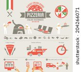 pizza elements  italian... | Shutterstock .eps vector #204266071