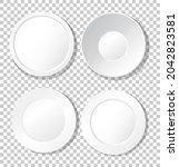 set of white plain plate top... | Shutterstock .eps vector #2042823581