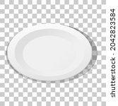 white plain plate on... | Shutterstock .eps vector #2042823584