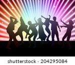 happy people dancing   Shutterstock .eps vector #204295084