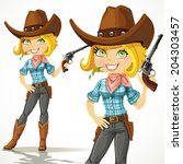 cute blond cowgirl with... | Shutterstock .eps vector #204303457