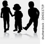 children silhouettes | Shutterstock .eps vector #204311719