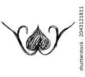 symmetrical floral vignette.... | Shutterstock .eps vector #2043121811