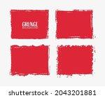 set of red grunge frames. | Shutterstock .eps vector #2043201881