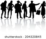 people silhouettes | Shutterstock .eps vector #204320845